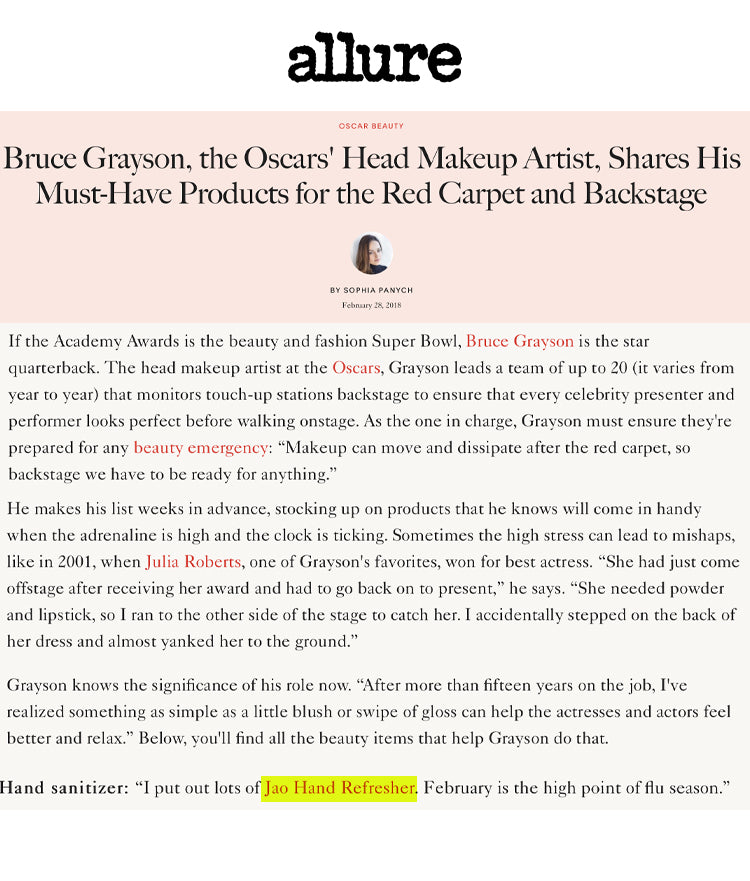 Allure: Oscars Makeup Artist Bruce Grayson Must Have Product for the Red Carpet Jao Refresher