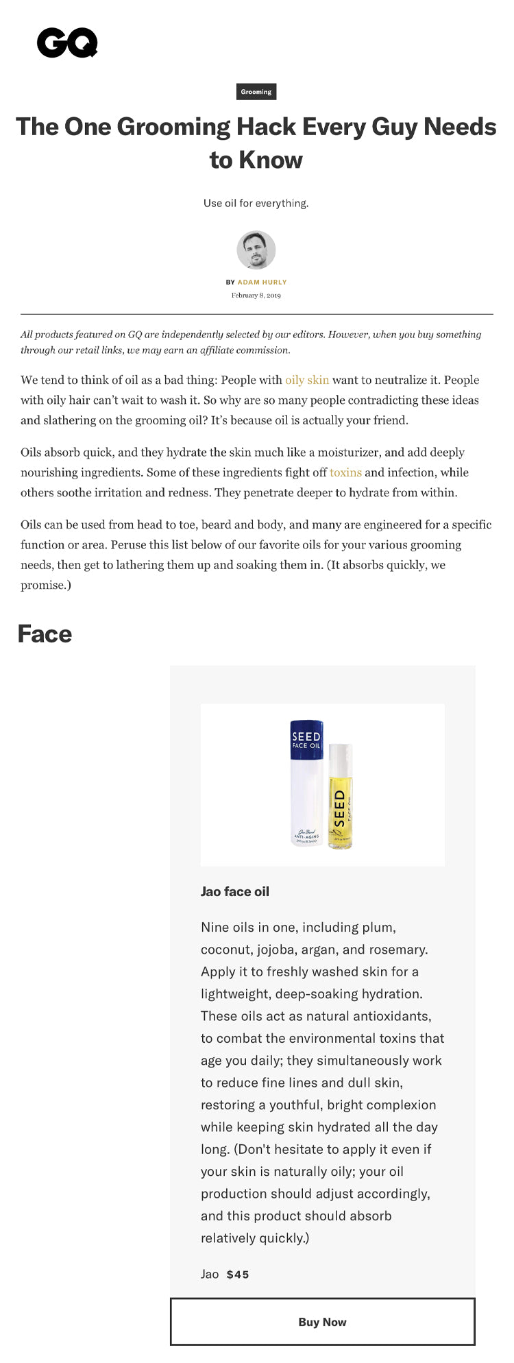 GQ: Best Oil-Based Products for Hair, Body, and Face Jao Seed Face Oil