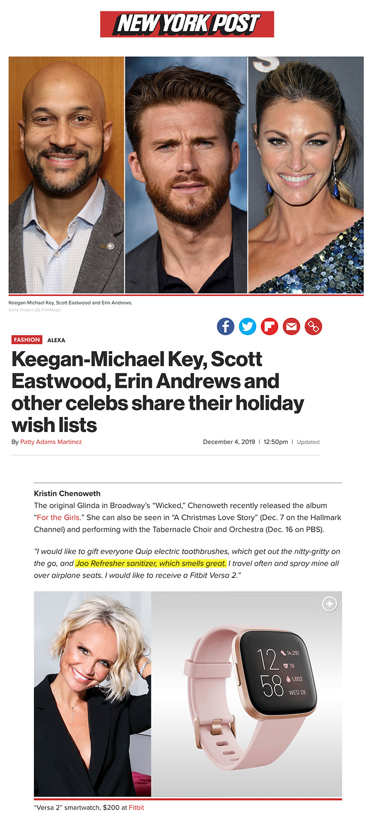 Keegan-Michael Key, Scott Eastwood, Erin Andrews and other celebs share their holiday wish lists. goe oil jao