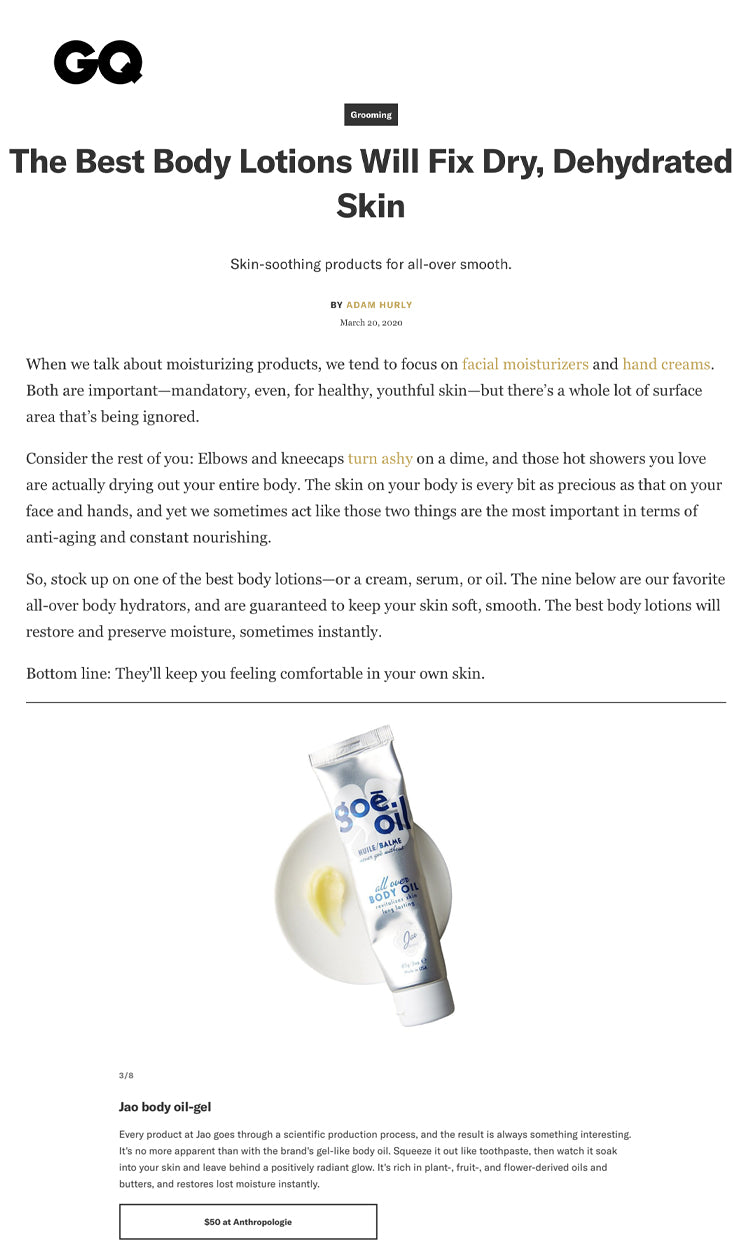 GQ: The Best Body Lotions Will Fix Dry, Dehydrated Skin Goe Oil