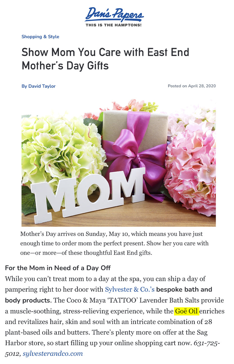 Dan's Papers: Mother's Day Gifts Goe Oil