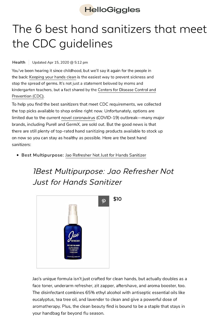 Hello Giggles: Best Hand Sanitizers That Meet The CDC Guidelines