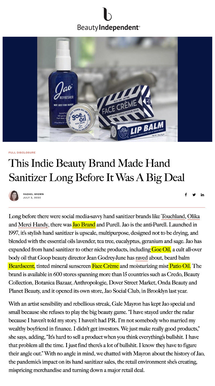 Beauty Independent: This Indie Beauty Brand Made Hand Sanitizer Long Before It Was A Big Deal Jao Brand