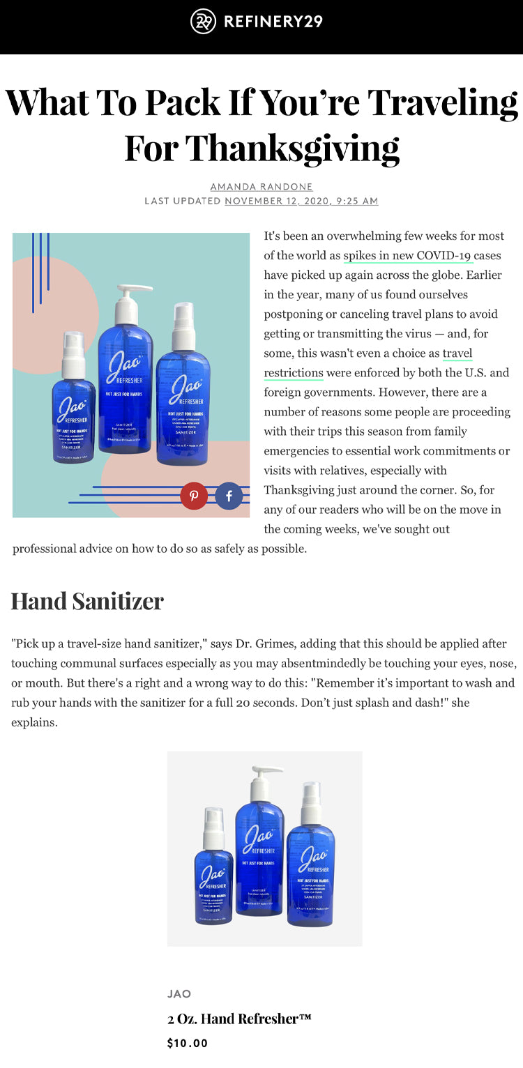 Refinery 29: What To Pack If You're Traveling Jao Refresher