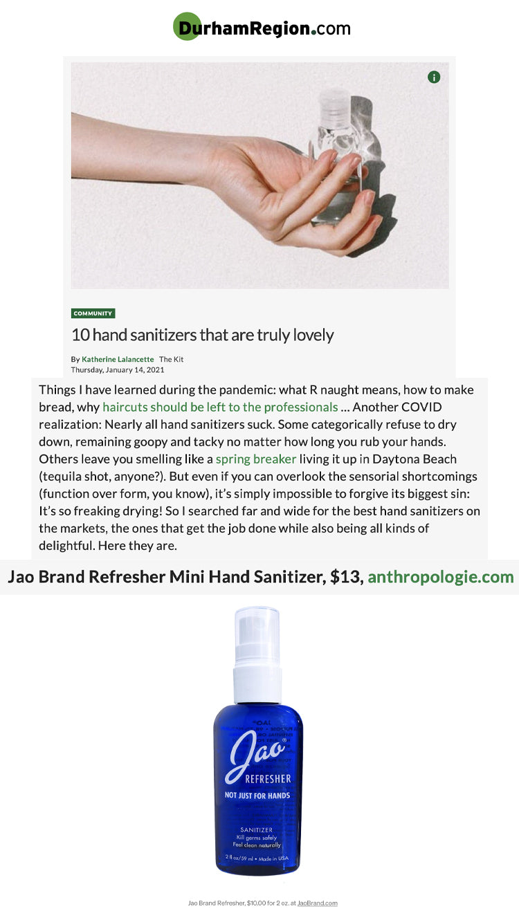 Durham Region: Hand Sanitizers That Are Truly Lovely Jao Refresher