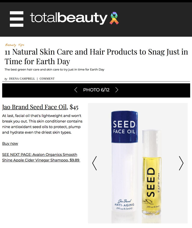 Total Beauty Natural Products Earth Day Jao Brand Seed Face Oil
