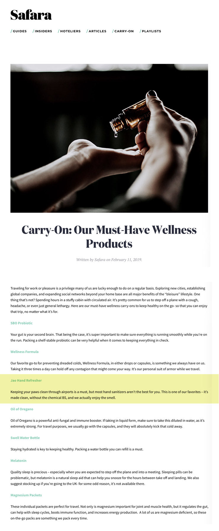Safara: Jao Refresher Carry-On: Our Must-Have Wellness Product