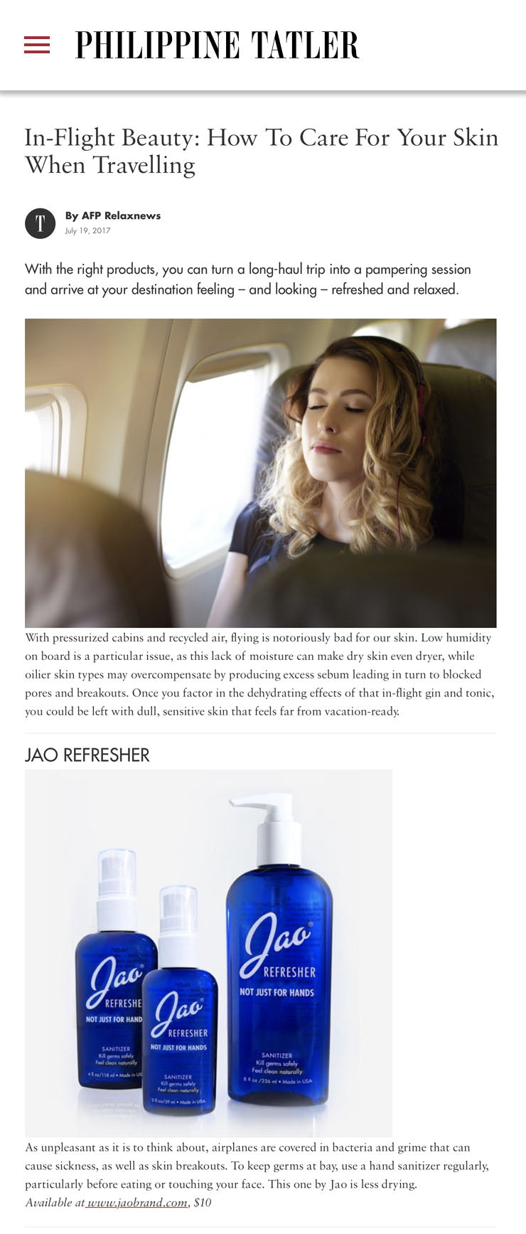In-Flight Beauty: How To Care For Your Skin When Travelling Jao Refresher