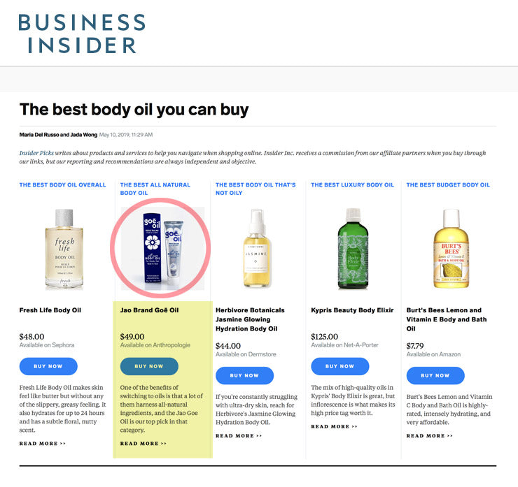 Business Insider: The best body oil you can buy - Jao Refresher