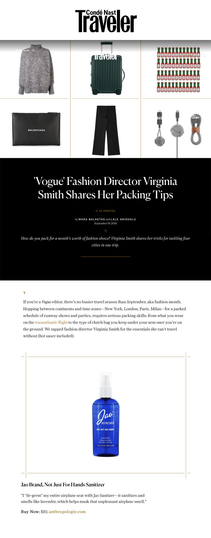 CN Traveler 'Vogue' Fashion Director Virginia Smith Shares Her Packing Tips Jao Refresher