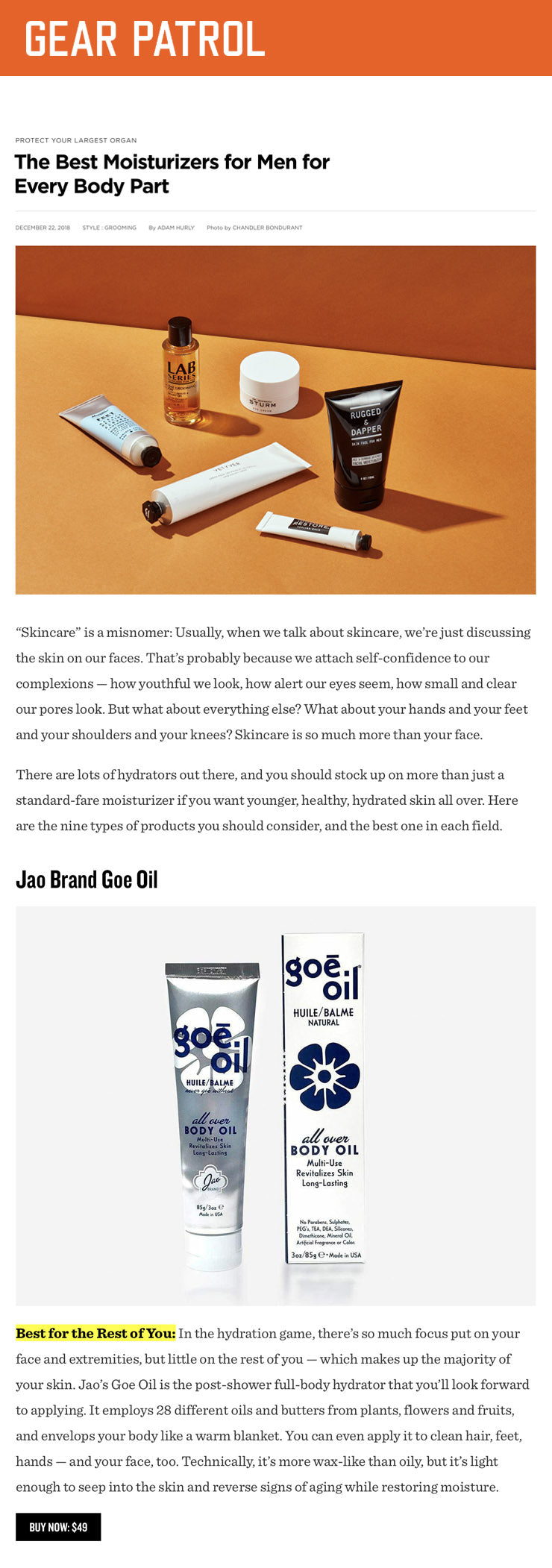 Gear Patrol - Goe Oil - The Best Moisturizers for Men for Every Body Part