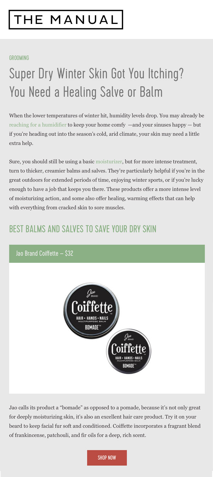 The Manual: Coiffette for Super Dry Winter Skin, A Healing Salve