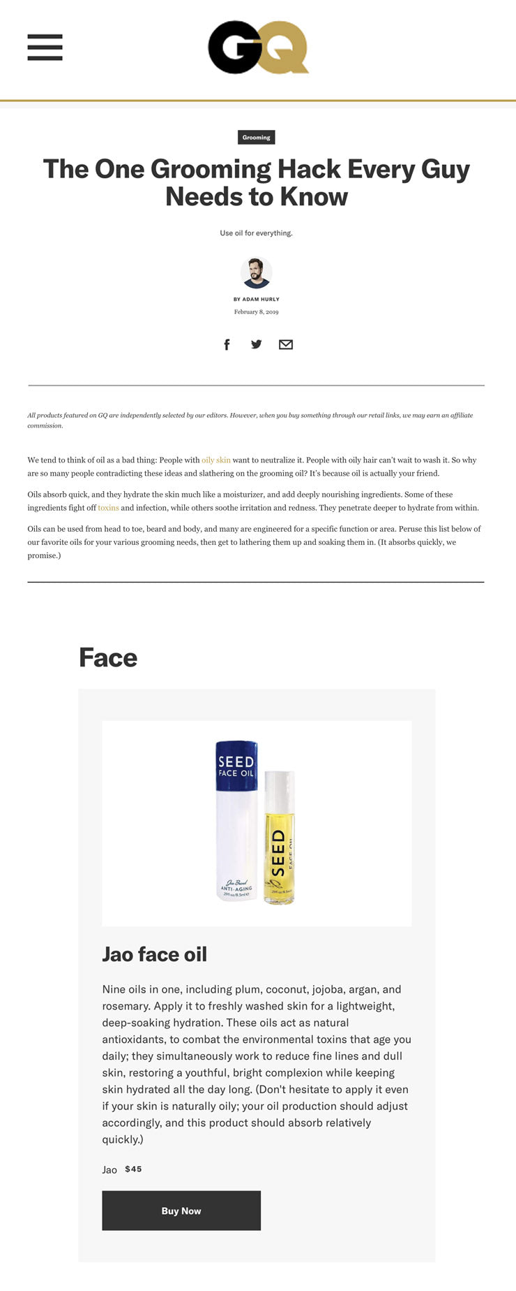 GQ: Jao Seed Face Oil The One Grooming Hack Every Guy Needs to Know