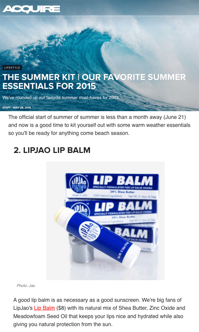 Acquire - Summer Essentials include LipJao