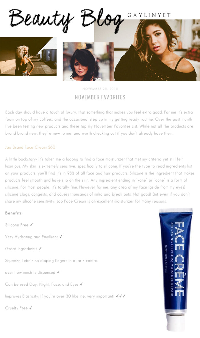 Beauty Blog Favorite Jao Brand Face Creme