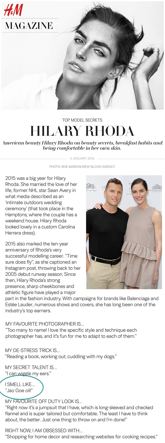 H&M Top Model Hilary Rhoda smells like Goe Oil