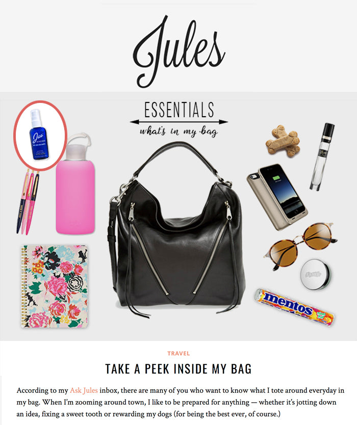 http://juliannehough.com/take-a-peek-inside-my-bag/