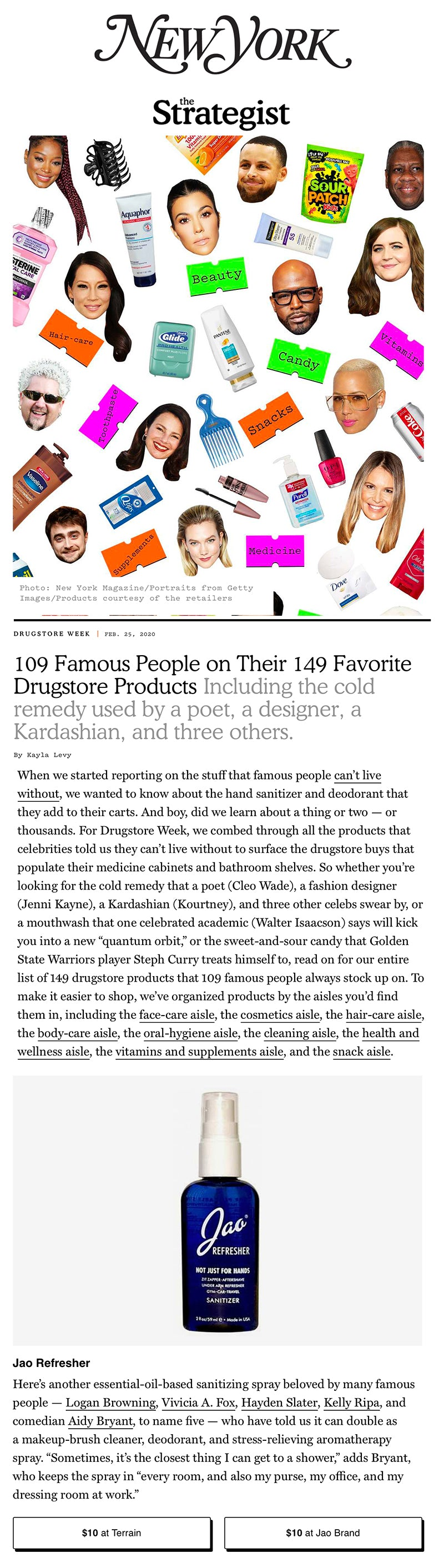 Jao Hand Sanitizer Refresher NY Magazine 109 Famous People on Their 149 Favorite Drugstore Products Share Tweet Pin It +