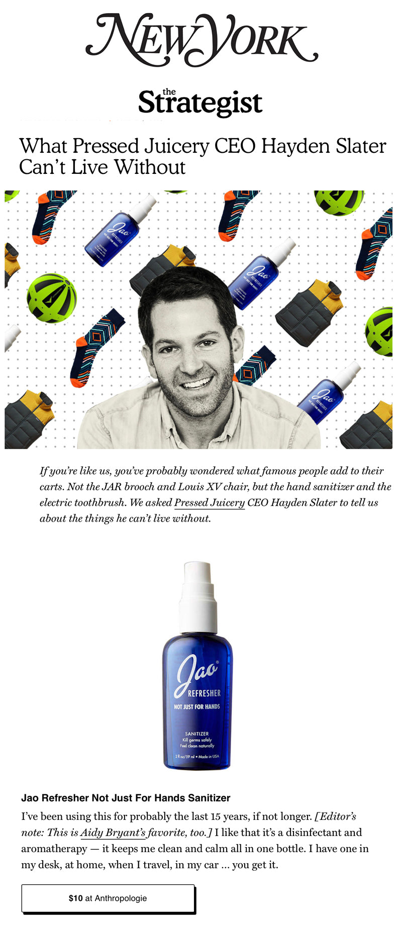 Jao Brand Hand Refresher Sanitizer: NY Magazine Pressed Juicery CEO Hayden Slater