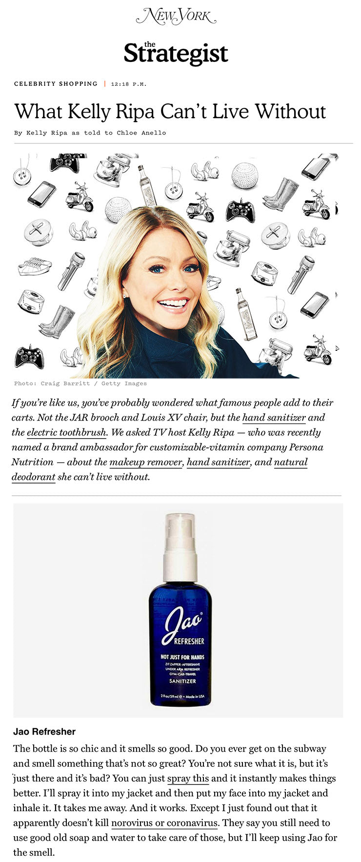 NY Mag Kelly Ripa loves Jao Refresher