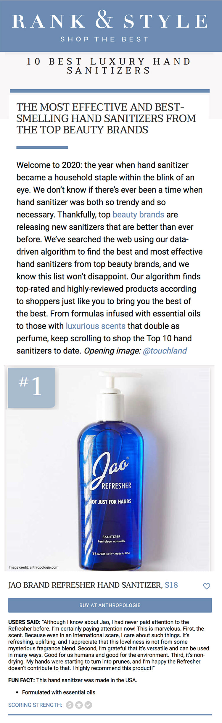 Rank & Style: Jao Refresher #1  LUXURY HAND SANITIZERS