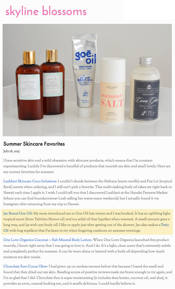 Skyline Blossoms Summer Skincare Favorites