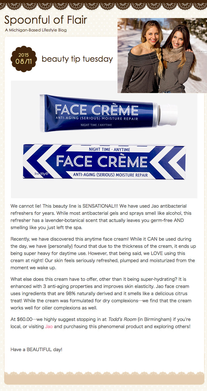 Spoonful of Flair : Beauty Tip Tuesday - Jao Face Creme