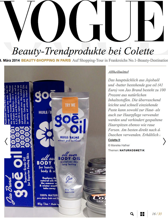 Vogue Germany Colette and Goe Oil