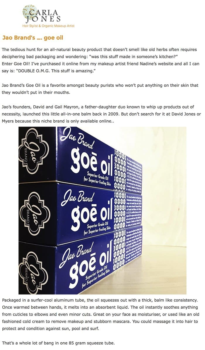 Carla Jones : Jao Brand's …. goe oil