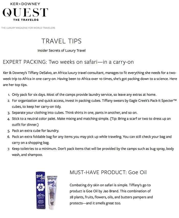 Ker & Downey Quest Travel Guide Goe Oil Must Have