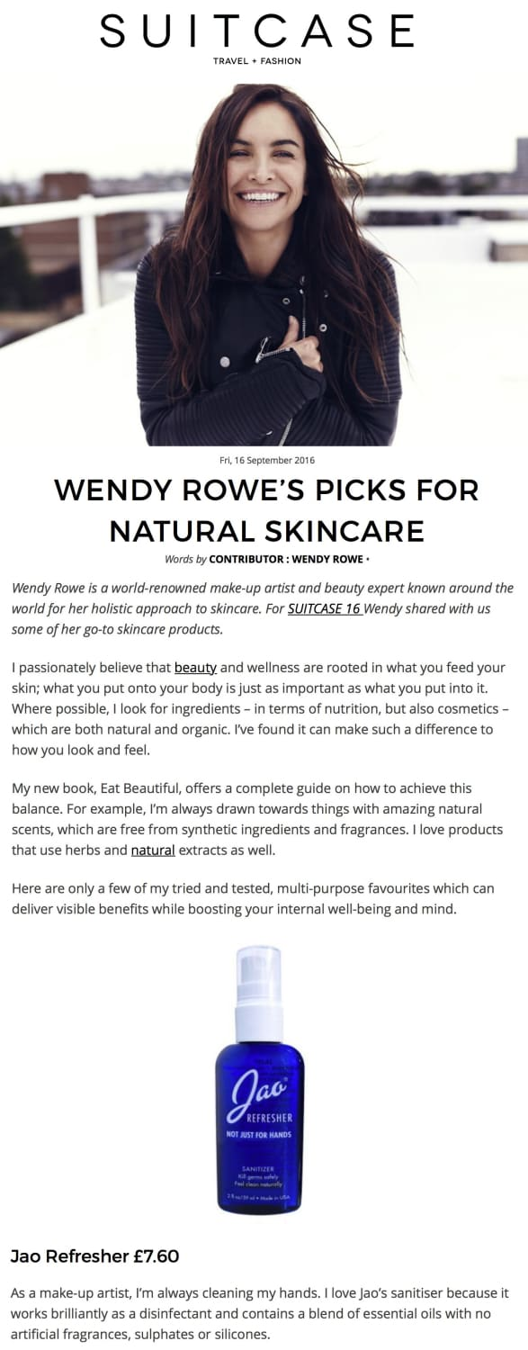WENDY ROWE'S PICKS FOR NATURAL SKINCARE