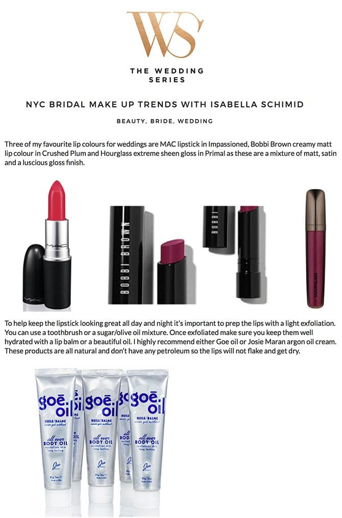 The Wedding Series : NYC Bridal Makeup Trends with Isabella Schmid