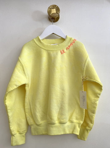 "PARK BARRETT -  ""Lil Sunshine"" Kids Tie Dye Crew Sweatshirt in Neon Yellow"