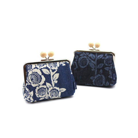 [Discharge Denim] Wood-Ball Gamaguchi Pouch (Small)