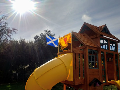 Proudly flying the two Scottish flags in our backyard!!