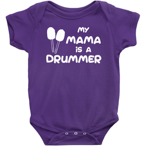 My Mama is a Drummer (Bass) Baby Bodysuit - Mountain Thyme