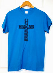 Celtic cross screen printed adult t-shirt in sapphire
