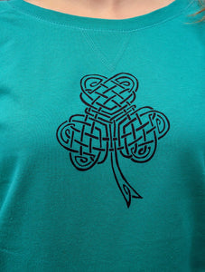 Celtic Shamrock Ladies Slouchy French Terry Pullover - Mountain Thyme