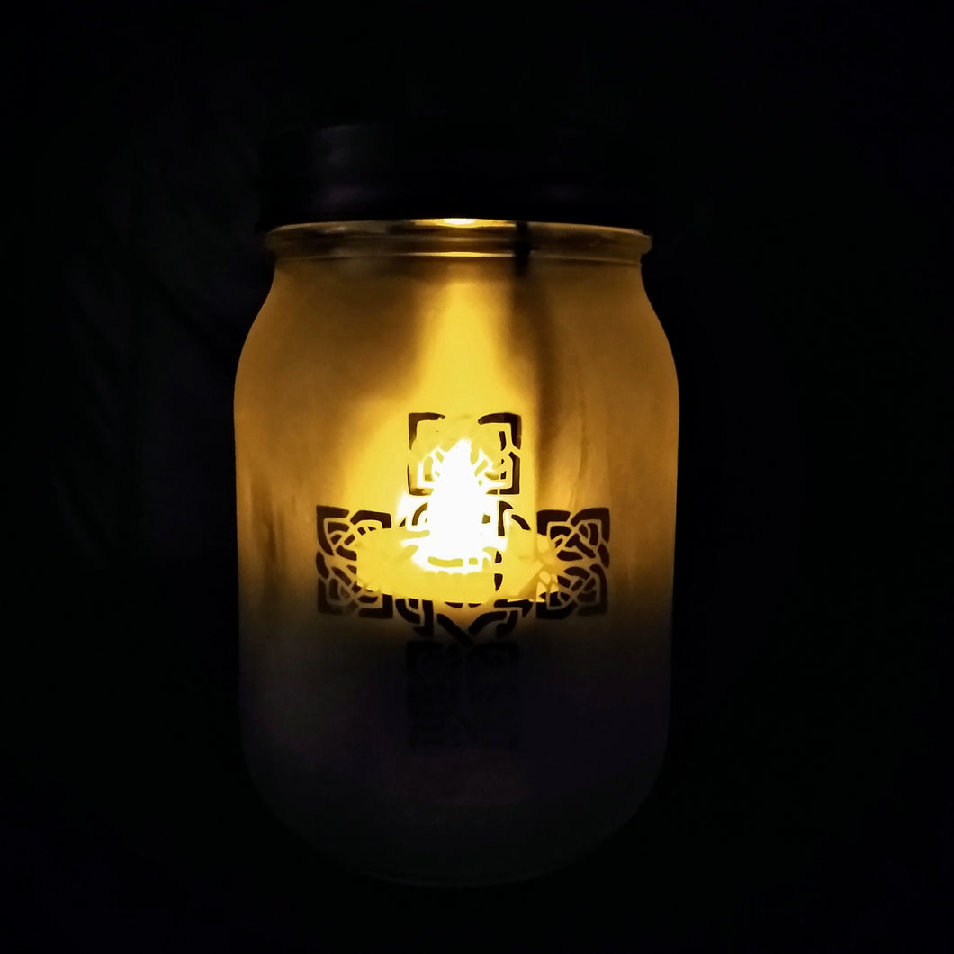 Celtic Cross Etched Luminary