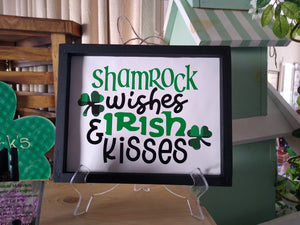 Shamrock Wishes and Irish Kisses Framed Canvas