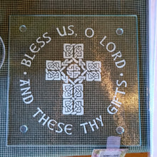 Load image into Gallery viewer, Celtic Cross Glass Cutting Board/Trivet