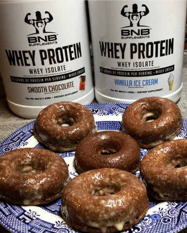Chocolate Protein Donuts with a Vanilla Protein Glaze