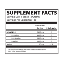 Load image into Gallery viewer, Instantized BCAA Powder 4:1:1 Lemon Drop Supplement Facts