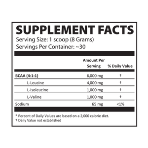 Instantized BCAA Powder 4:1:1 Lemon Drop Supplement Facts