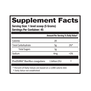 BNB Supplements Unflavored Probiotic Powder Produra Supplement and Nutrition Facts