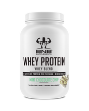 Load image into Gallery viewer, BNB Supplements Mint Chocolate Chip Whey Protein tastes like ice cream