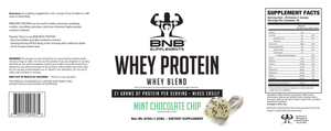 BNB Supplements Mint Chocolate Chip Whey Protein Label