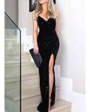 Load image into Gallery viewer, NAZZ COLLECTION SIREN BLACK PLUNGE GOLD SEQUIN TASSEL FRINGE THIGH SLIT FISHTAIL DRESS