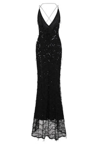 NAZZ COLLECTION SIREN BLACK PLUNGE GOLD SEQUIN TASSEL FRINGE THIGH SLIT FISHTAIL DRESS