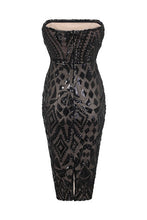 Load image into Gallery viewer, NAZZ COLLECTION CHIC LUXE BLACK NUDE STRAPLESS SEQUIN ILLUSION MIDI PENCIL DRESS